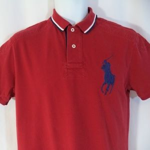 Polo Ralph Lauren Mens Red Polo Big Pony Logo Sz M